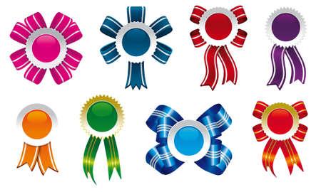 lazos, cintas y escarapelas de diseño en diferentes formas y colores