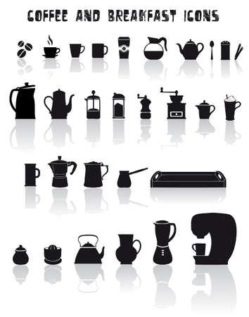 molinillo: Juego de café y desayuno iconos en negro Vectores