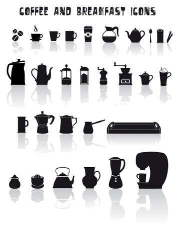 Set of coffee and breakfast icons in black Illustration