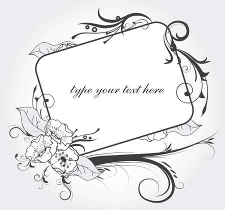 florel frame for elegant invitations with text space inside