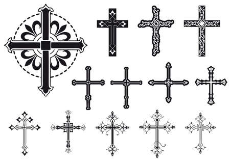 set of mixed decorated crosses Vector