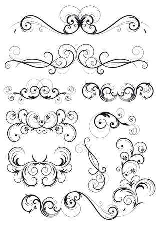 Set of classical swirly floral decorations in black Vector