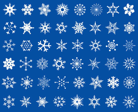 abstract snowflakes design set mixed, white on blue background Vector