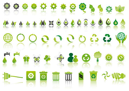 set of mixed green ecology icons to respect the environment Çizim