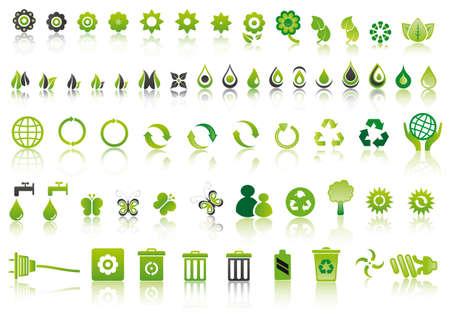 set van gemengde groene ecologie pictogrammen om het milieu te respecteren