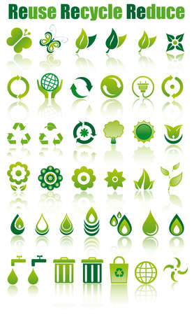 set of green ecology icons to save the environment Vector