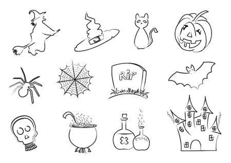 Set of Halloween icons designed with stroke lines painted in black Vector
