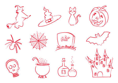 Set of Halloween icons stroke designed like brush stroke with red ink Vector