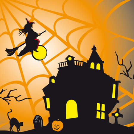 Halloween theme square card  Vector