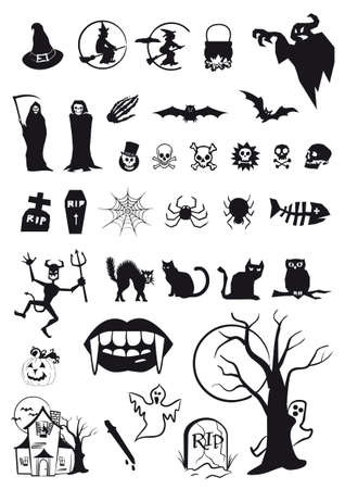 set of halloween symbols and icons in black Vector