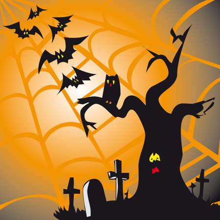 dry flies: Halloween theme square card with dry tree in the cemetery and bats