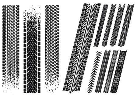 set of different car tyre imprints
