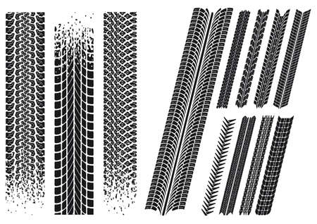 set of different car tyre imprints