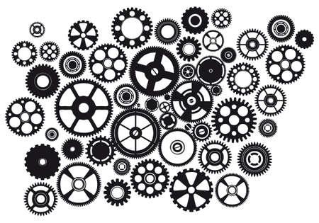 set of mixed mechanical gears design 向量圖像