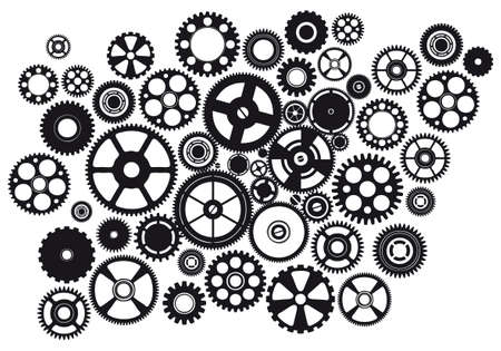 set of mixed mechanical gears design Illustration