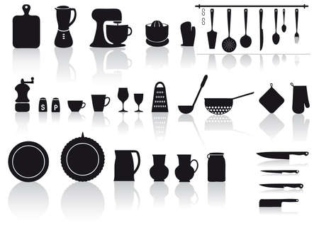 kitchen and home utensils and cutlery Illustration