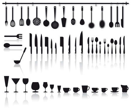 home kitchen tools  glasses, knifes and cutlery Illustration
