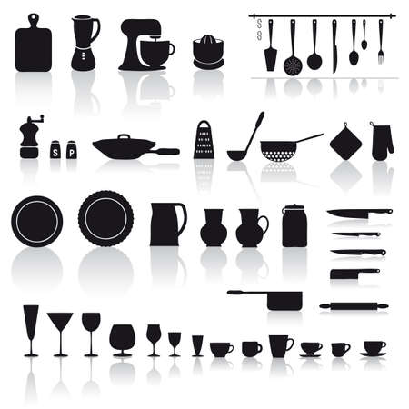 kitchen ware: set of mixed kitchenware and tools to cooking and prepare dinner Illustration