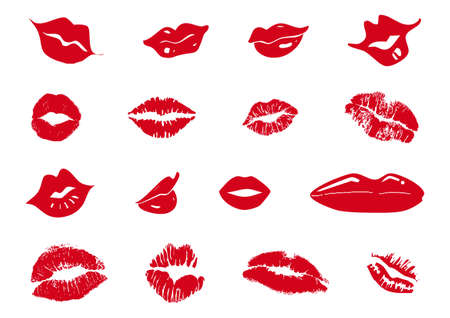 set of mixed red lips Vector