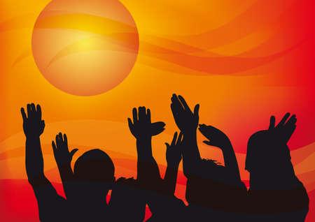 日没、感情的なイラストで空までの人々 の手