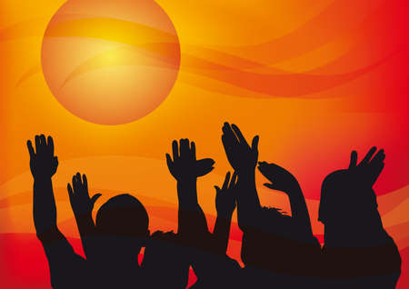 warm up: people hands up to the sky at sunset, emotional illustration