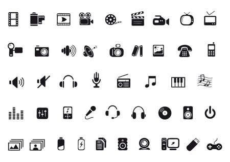 media and communications icons Vector