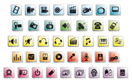 set of media communications icons on glossy colored buttons Vector