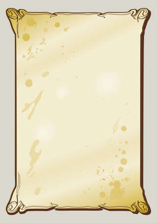 old vertical brown parchment with paint stains Vector