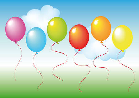 set of baloons on delicate green and blue background Vector