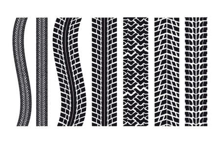 tire marks: set of different car tire imprints
