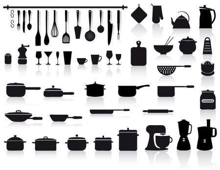 set of assorted icons of kitchen tools, pottery and cutlery in black