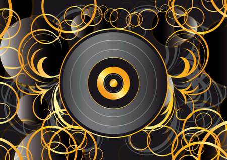 lps: black vinyl design modern abstract background for covers, posters, brochures Illustration