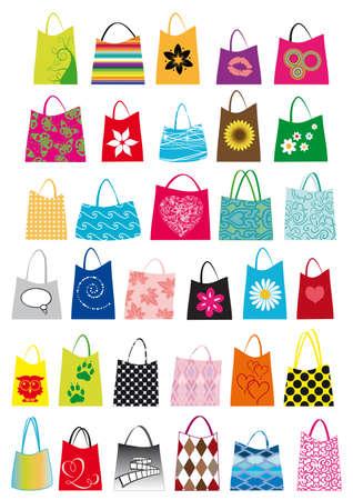 混合: 異なるサイズと色の混合のショッピング バッグのセット