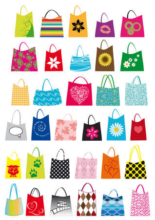 set of mixed shopping bags in different sizes and colors Vector