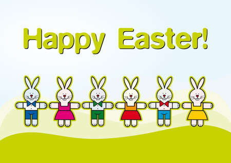 kids illustration with paper cut rabbits for easter Vector