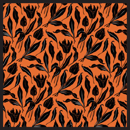 modular home: flowers and leaves orange pattern, oriental style