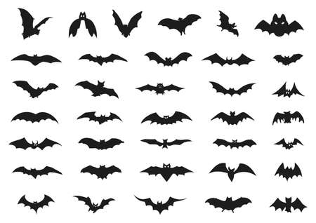 ハロウィンのコウモリのセット  イラスト・ベクター素材