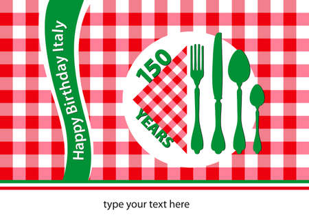 Italy 150 Years Old Anniversary, Special Edition Table Cloth Vector