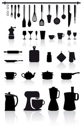 home kitchen utensils, small appliances and cutlery Vector