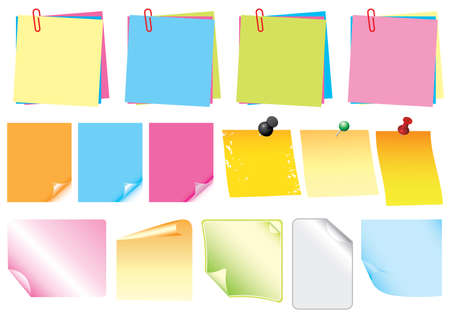 set of coloured vector sticky note and stickers