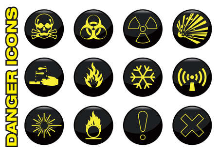 toxic accident: set of hazard symbols on glossy buttons