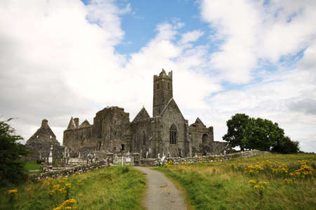 quin: small footpath to Quin Abbey ruins in Ireland