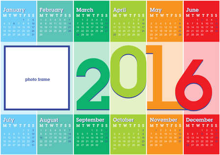 blank space: calendar 2016 with vertical coloured stripes and blank space for photo Illustration