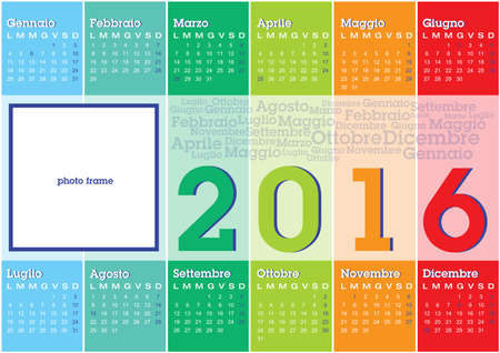 coloured: calendar 2016 italian language with vertical coloured stripes