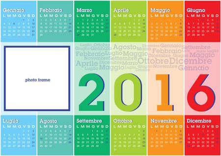 calendar 2016 italian language with vertical coloured stripes