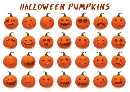 fall winter: set of halloween pumpkins cartoon style