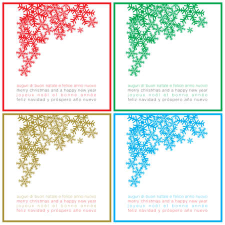 regards: Greetings Christmas square cards in four colours and different languages Illustration