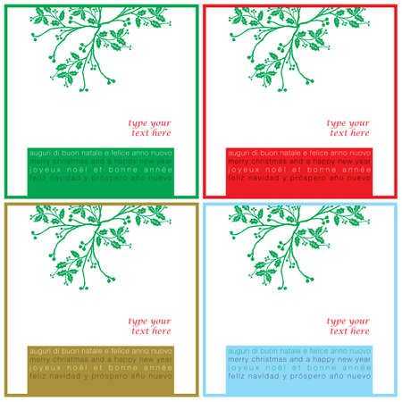 idiomas: Deseos de Navidad tarjetas cuadrados en cuatro colores y lenguajes diferentes Vectores