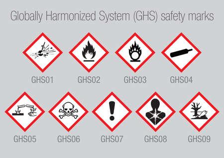 9 ベクトル世界調和システム GHS 安全マークの包装、CLP の警告サインのセット  イラスト・ベクター素材
