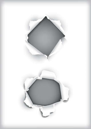 holes: vector illustration of holes in paper